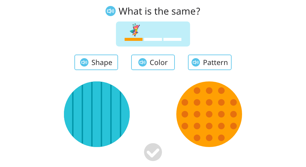 Identify whether shape, color, or pattern is the same among two objects