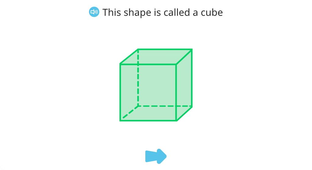 Identify cubes from among 3-D shapes