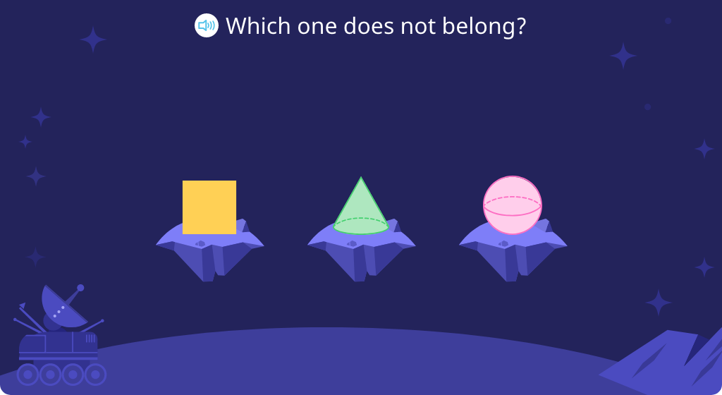 Identify which shape in a set of three is not like the others