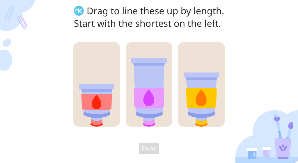 Arrange a set of aligned objects according to length