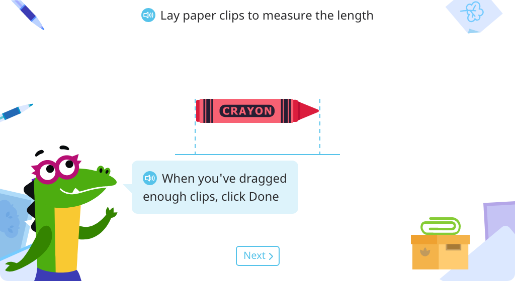 Measure lengths of objects by laying units correctly