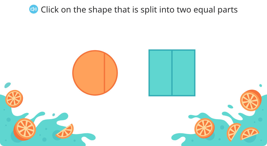 Identify a shape that is partitioned into halves (Level 1)