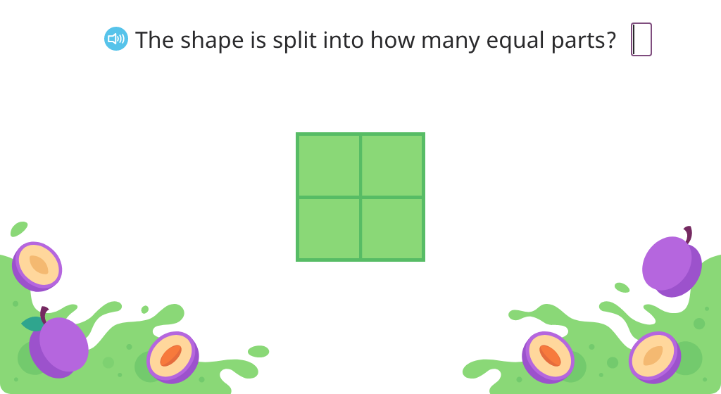 Determine the number of equal parts in a partitioned shape