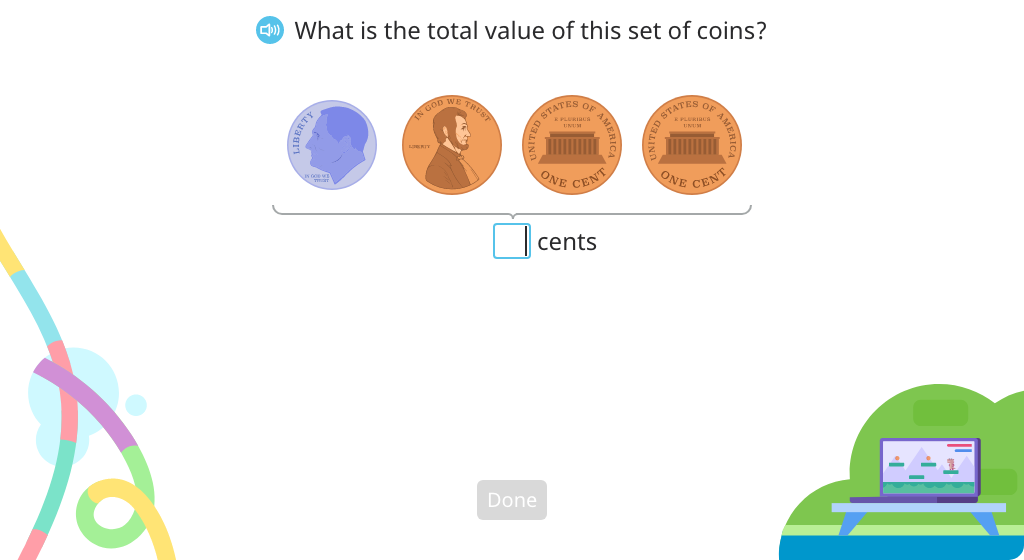 Identify the total value of a collection of dimes and pennies