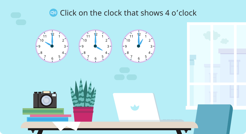 Determine time to the hour on an analog clock