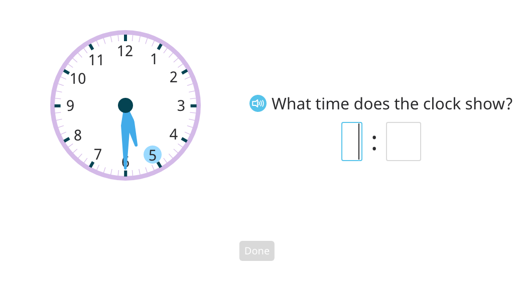 Identify time to the half hour on a digital and analog clock