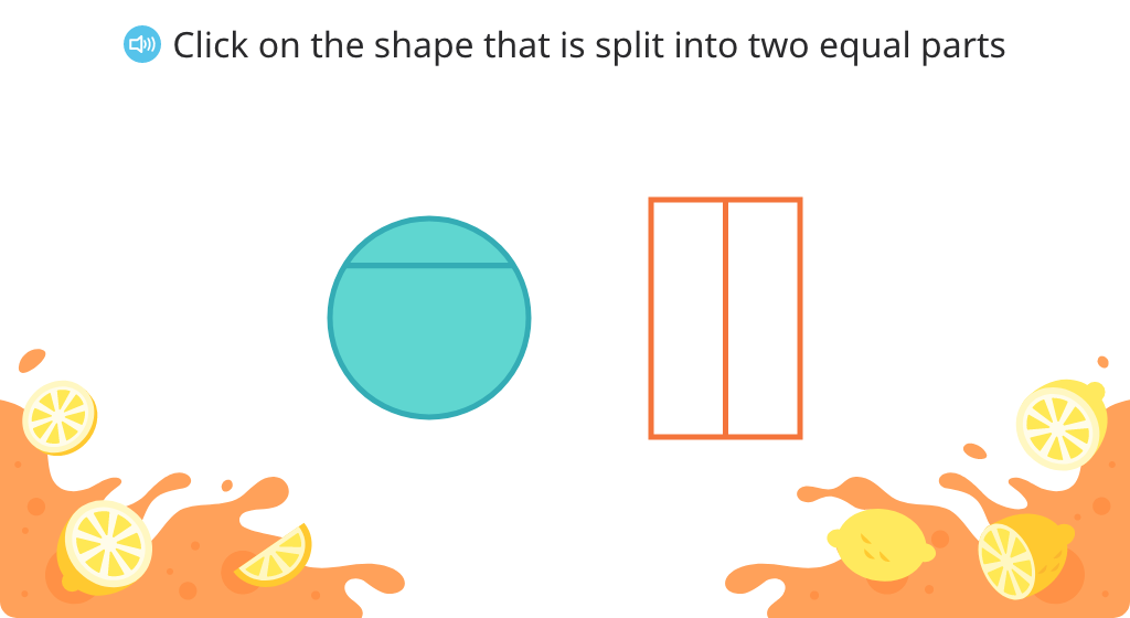 Identify shapes that are split into halves