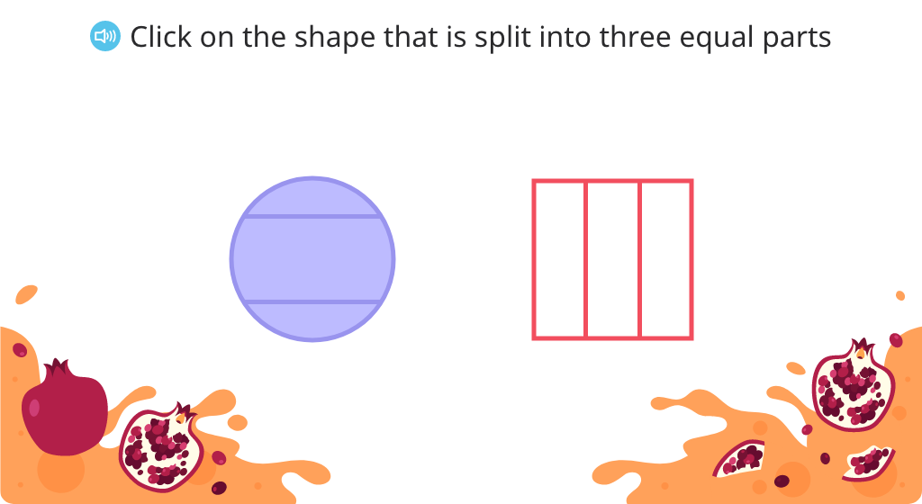 Identify shapes that are split into thirds and split shapes into thirds