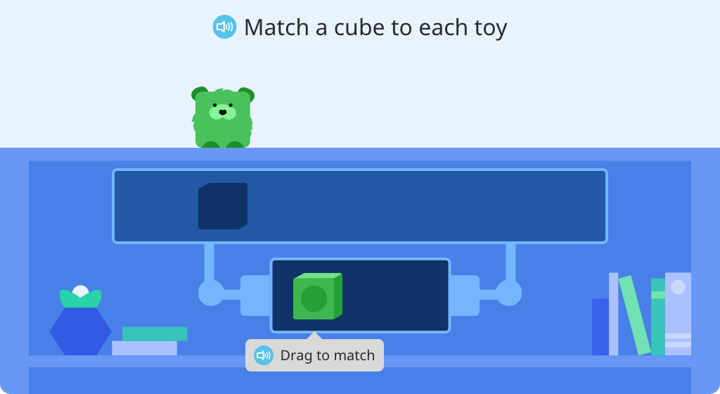 Use cubes in two colors to represent a set of real-world objects