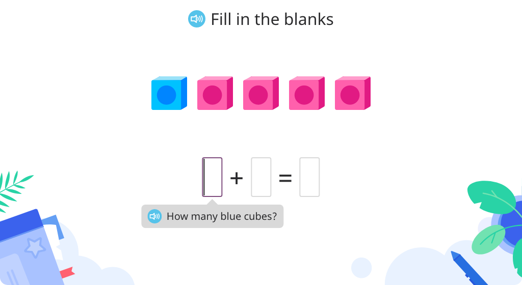 Solve addition equations to 5 based on a model of cubes