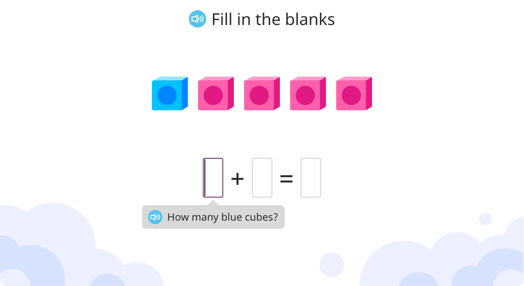 Compose addition equations based on cubes, and solve equations with and without cubes
