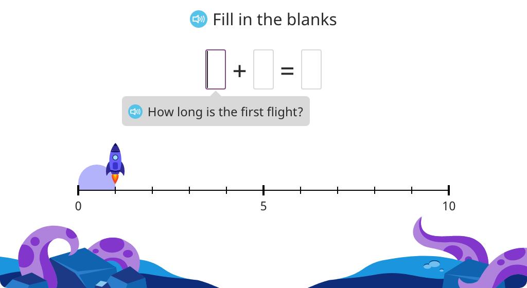 Interpret addition on a number line and solve